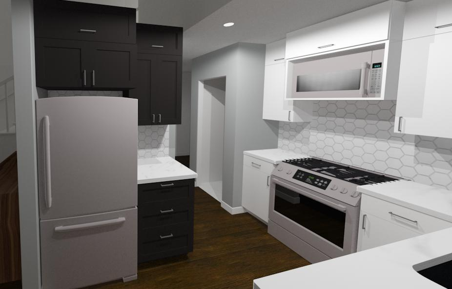 Full home renovation - initial design renders of kitchen | Creative Touch Kelowna Interior Design